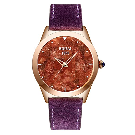 Reloj piedra arena dama oro Cuarzo Impermeable Tendencia de la moda Reloj de pulsera correa verdadero