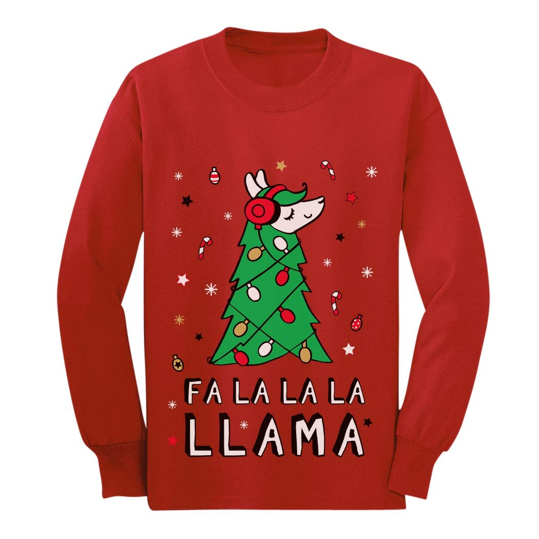 FA La La Llama Ugly Christmas Sweater Funny Xmas Youth Kids Long Sleeve T-Shirt GaMPa0ZgCm
