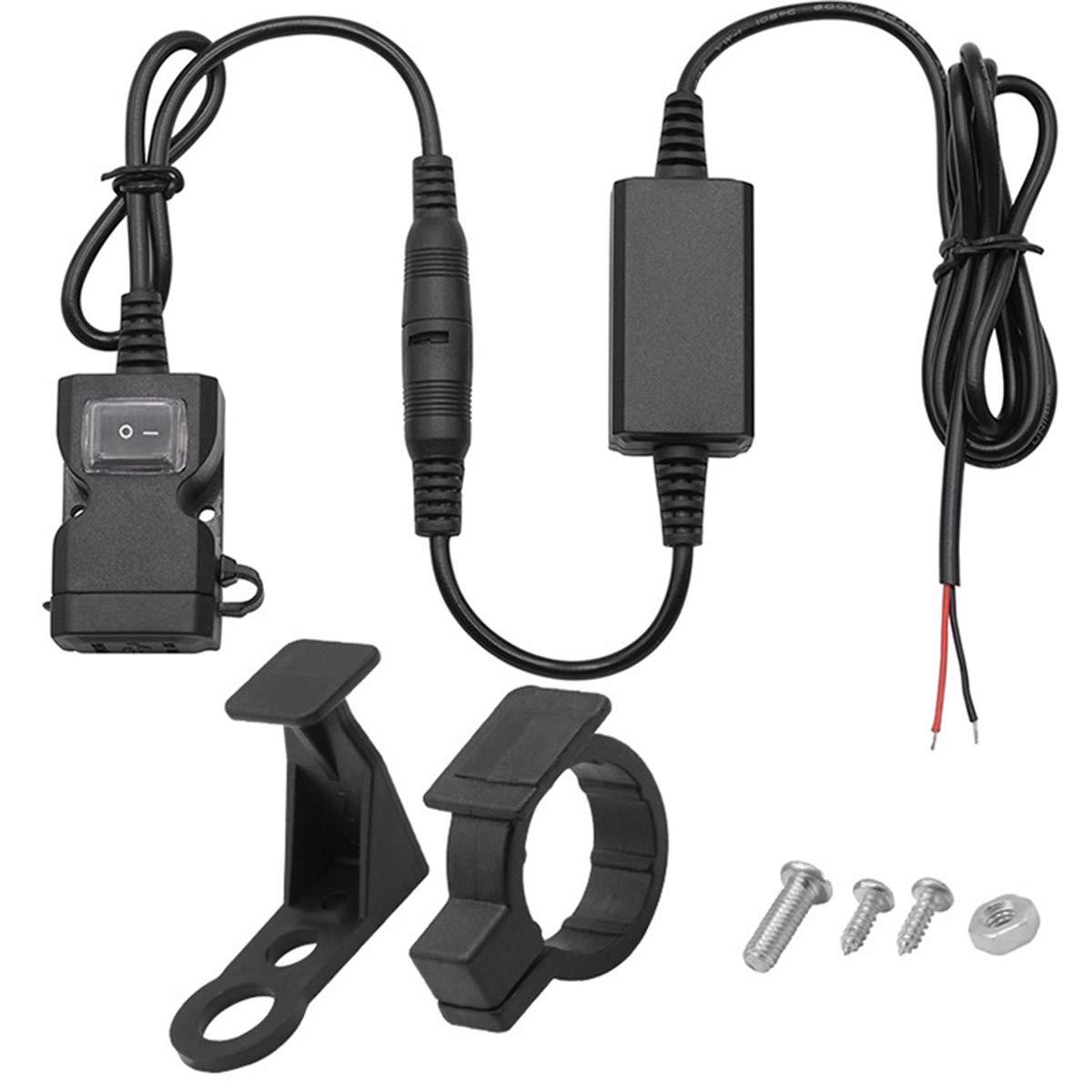 Vosarea USB Caricabatterie da Moto Manubrio Retrovisore impermeabile doppio porte 3.1 A Adattatore di presa di ricarica rapida con interruttore per scooter di moto Triciclo e altri veicoli 05214R63091