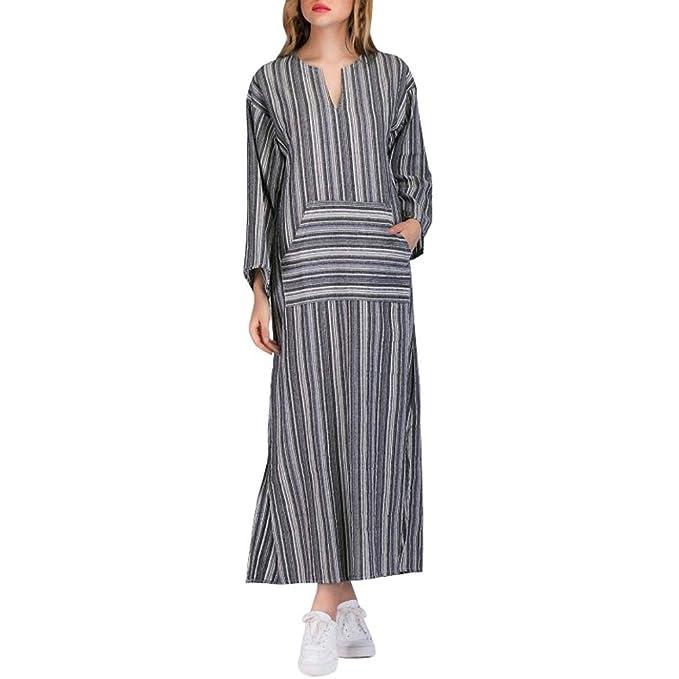 820ac59a694e Trada Abito lungo da donna a manica lunga in kaftano a righe Vestito Da  Donna Abito