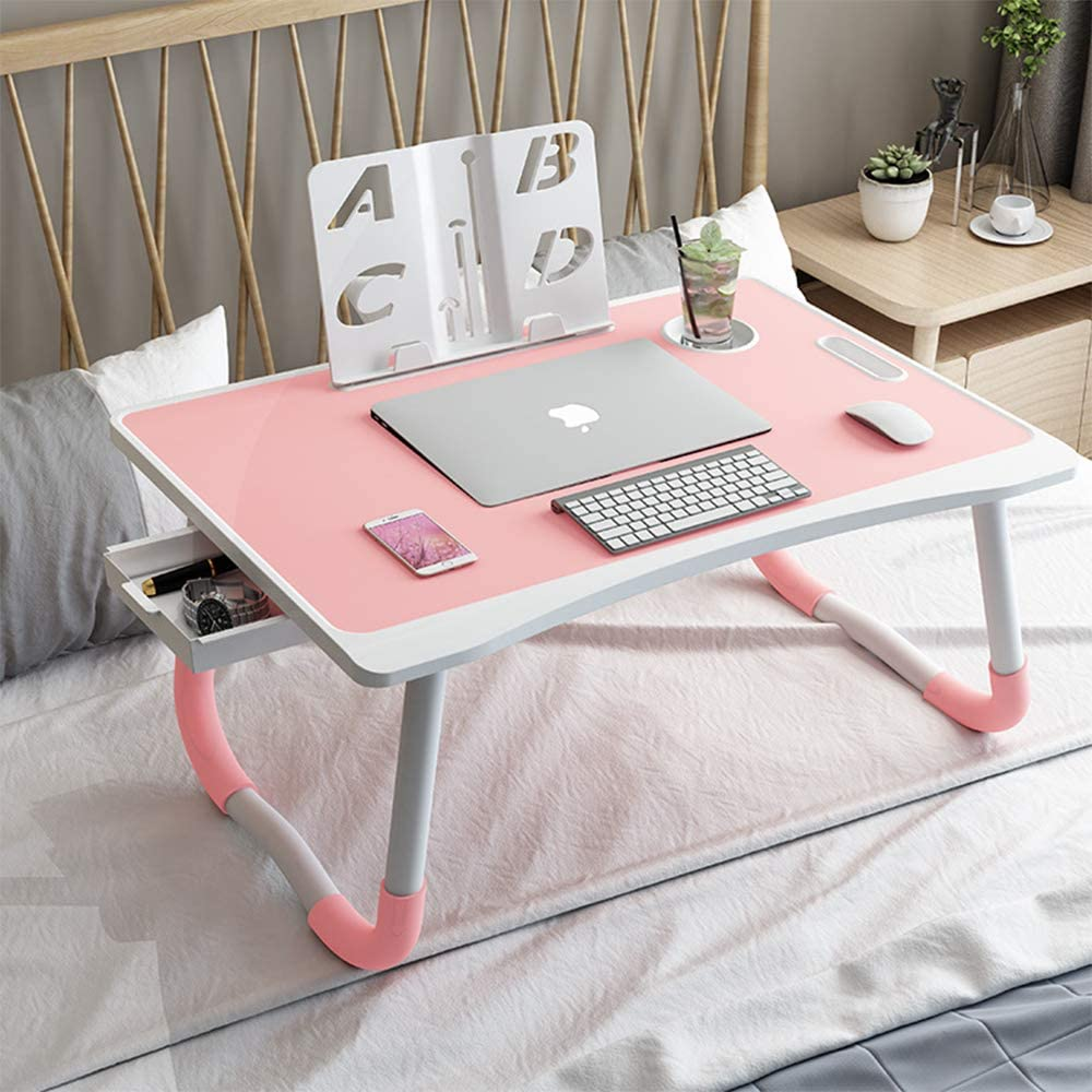 YOSHOOT Clearance Items Laptop Desk for Bed, Multi-Function Laptop Bed Tray Table with Handle, Foldable Legs Notebook Stand Reading Desk with Storage Drawer, Cup Slot for Bed Sofa Telecommuting (pink)