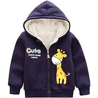 H.eternal Thick Coat Jacket Baby Boys Girls Hoodie Fleece Outerwear Duffle Zipper Cotton Outerwear,Cartoon Giraffe Print Cloak Warm Long Sleeve Clothes