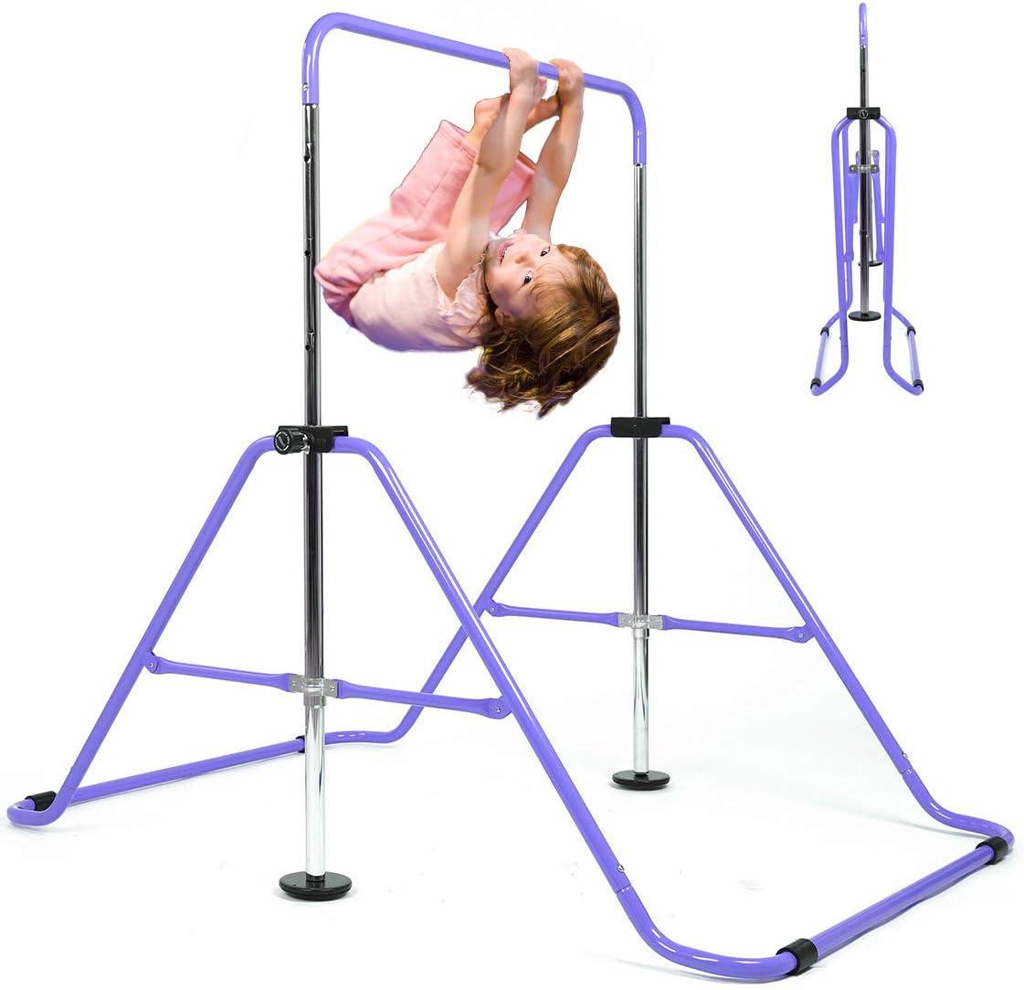 My Quality Life Gymnastics Bar Kids Expandable Gymnastic Bars Equipment for Home Adjustable Height Folding Kip Junior Training Bar 3-7 Years Old