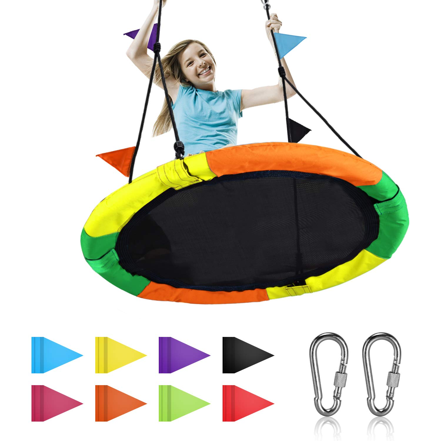 Amazon.com: Springcoo Tree Swing, 40'' Diameter Very Large Swing for  Multiple Kids Play,Height Adjustable: Toys & Games
