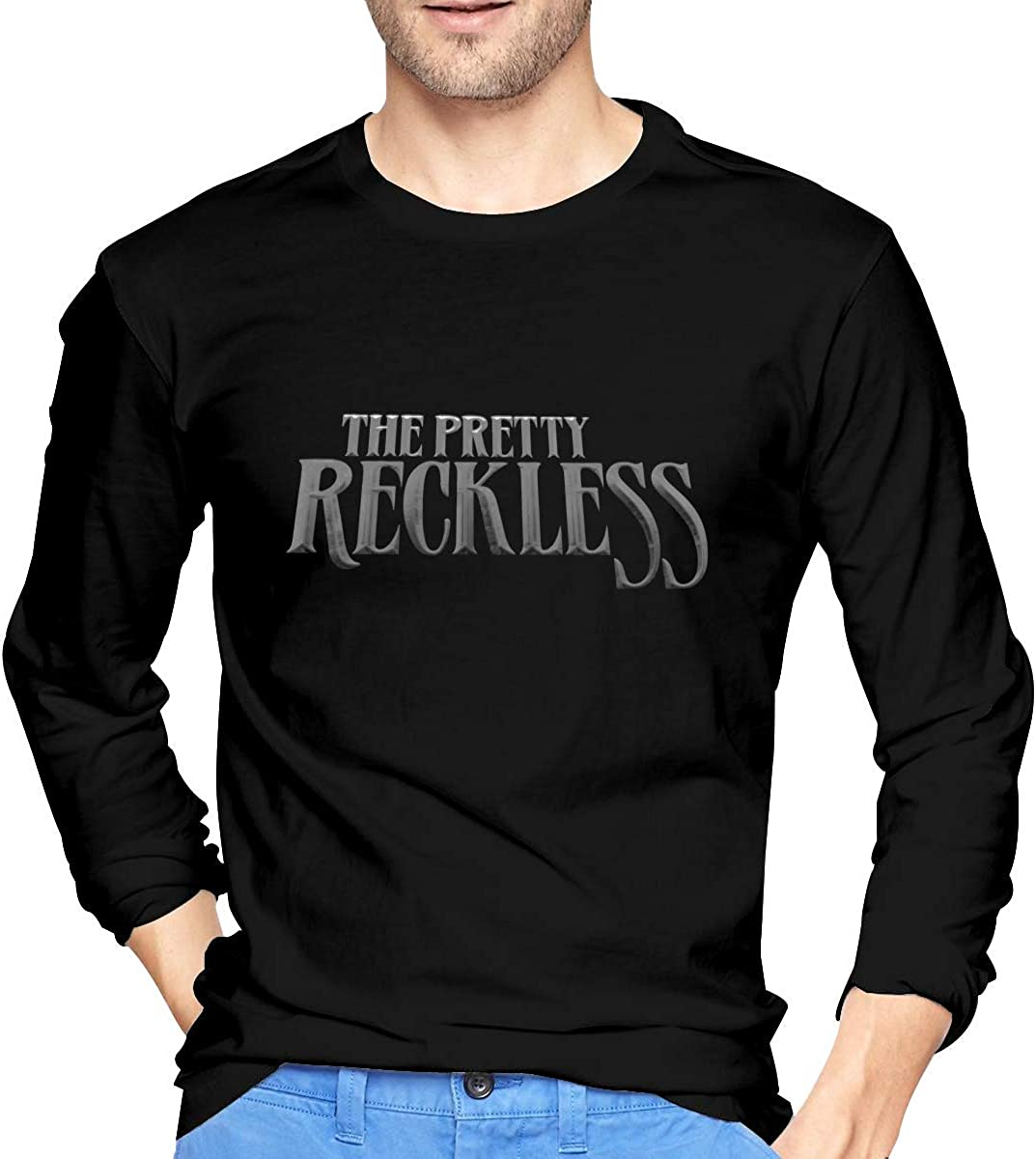 Henrnt The Pretty Reckless Men's Comfort Soft Long Sleeve Outdoor T Shirt 100% Cotton Printing T-Shirts tee Black