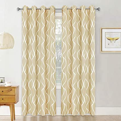 RYB HOME Blackout Curtains for Gift, Simple Pattern Design with Elegant  Ring Top Washable Curtain Panels for Kitchen/Bedroom, Cream Beige, 52 x 95  ...