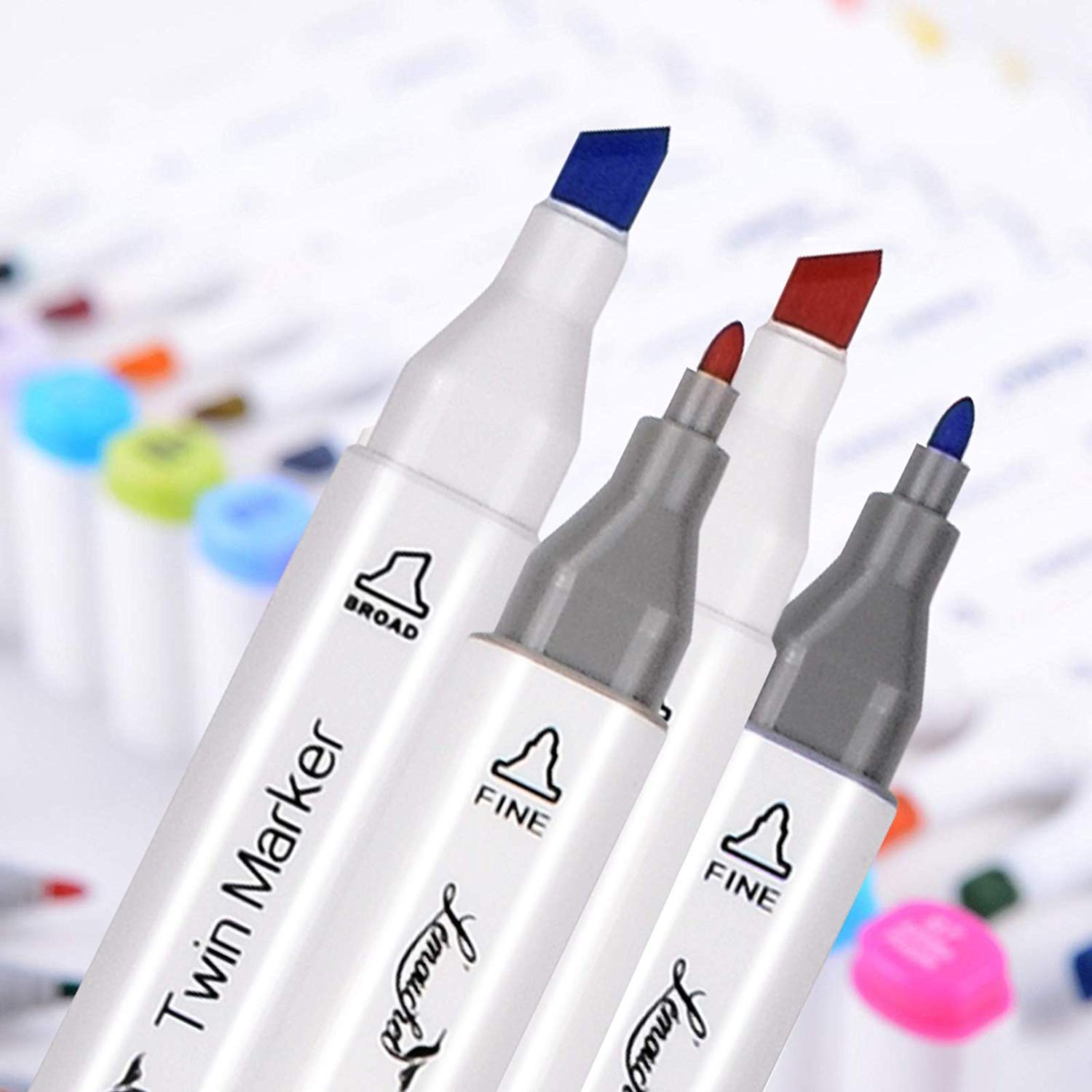 L\'émouchet Twin Marker Pens 168+2 Colors Dual Tips Art Animation Blender Pens with Carrying Case for Sketch Coloring Painting Highlighting Underlining Render Manga and Design