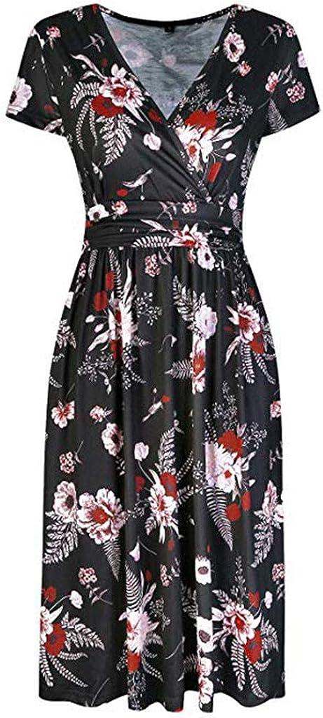 KUDICO Womens Summer Casual Daily Holiday Beach Sundress Ladies Slim High Waist Floral Printed Dress Knee-Length