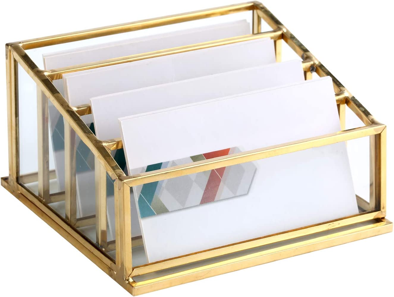 Glass Business Card Holder, Vintage Durable Office Name Cards Display Holder Handcrafted Professional Office Desktop Countertop Business Cards Organizer Unique and Modern Fits190 Pcs Cards (4 Tiers)