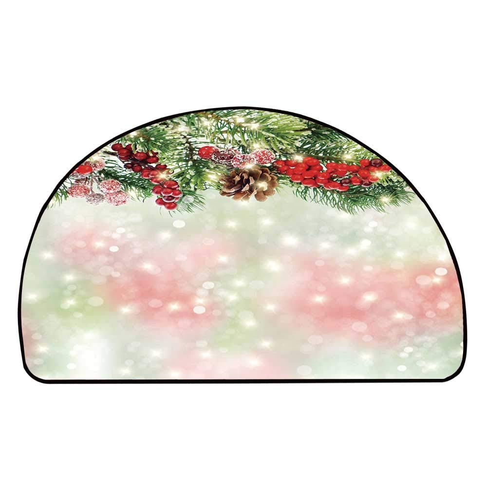 C COABALLA Christmas Comfortable Semicircle Mat,Evergreen Fir Branches with Red Ripe Holly Berries Blurred Backdrop Garland Decorative for Living Room,11.8'' H x 23.6'' L