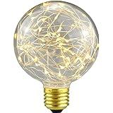 SUNDY エジソン装飾電球 ヴィンテージスタイル G95 E26 110V-120V 1.6-2W LED 星空 銅線電球 ホーム 室内 照明 パーティークリスマスの結婚式の装飾ギフト休日ライト星スタイル (ウォームホワイト)