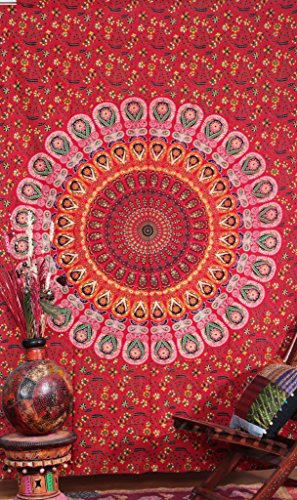 Rajrang Reddish Kaleidoscopic Wall Hanging Block Print Floral Indian Tapestry