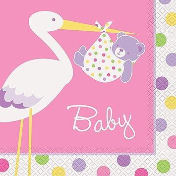 Stork Girl Baby Shower Napkins, Pack Of 16