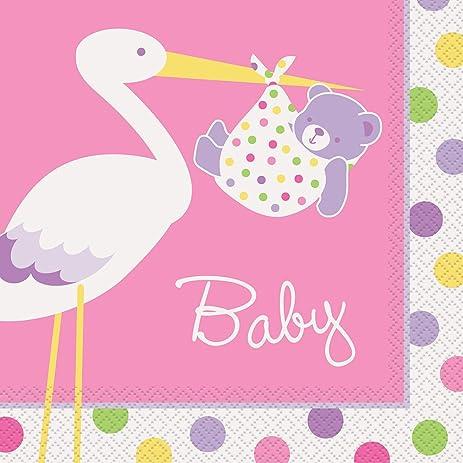 Elegant Pink Stork Baby Shower Napkins, 16ct