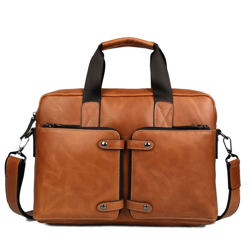 XUROM Briefcase Bag Laptop Leather Briefcase Can Accommodate The Largest Size Notebook 14 Inch Messenger Bag Shoulder Messenger Bag Casual Brown