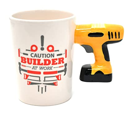 13847c50028 Image Unavailable. Image not available for. Color: Drill Handle Ceramic Coffee  Mug. Novelty Coffee Mug with Tool ...