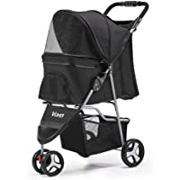 i.Pet Foldable Pet Stroller 3-Wheel Dog Cat Carrier-Black