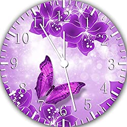 Purple Butterfly Frameless Borderless Wall Clock E112 Nice for Gift or Room Wall Decor