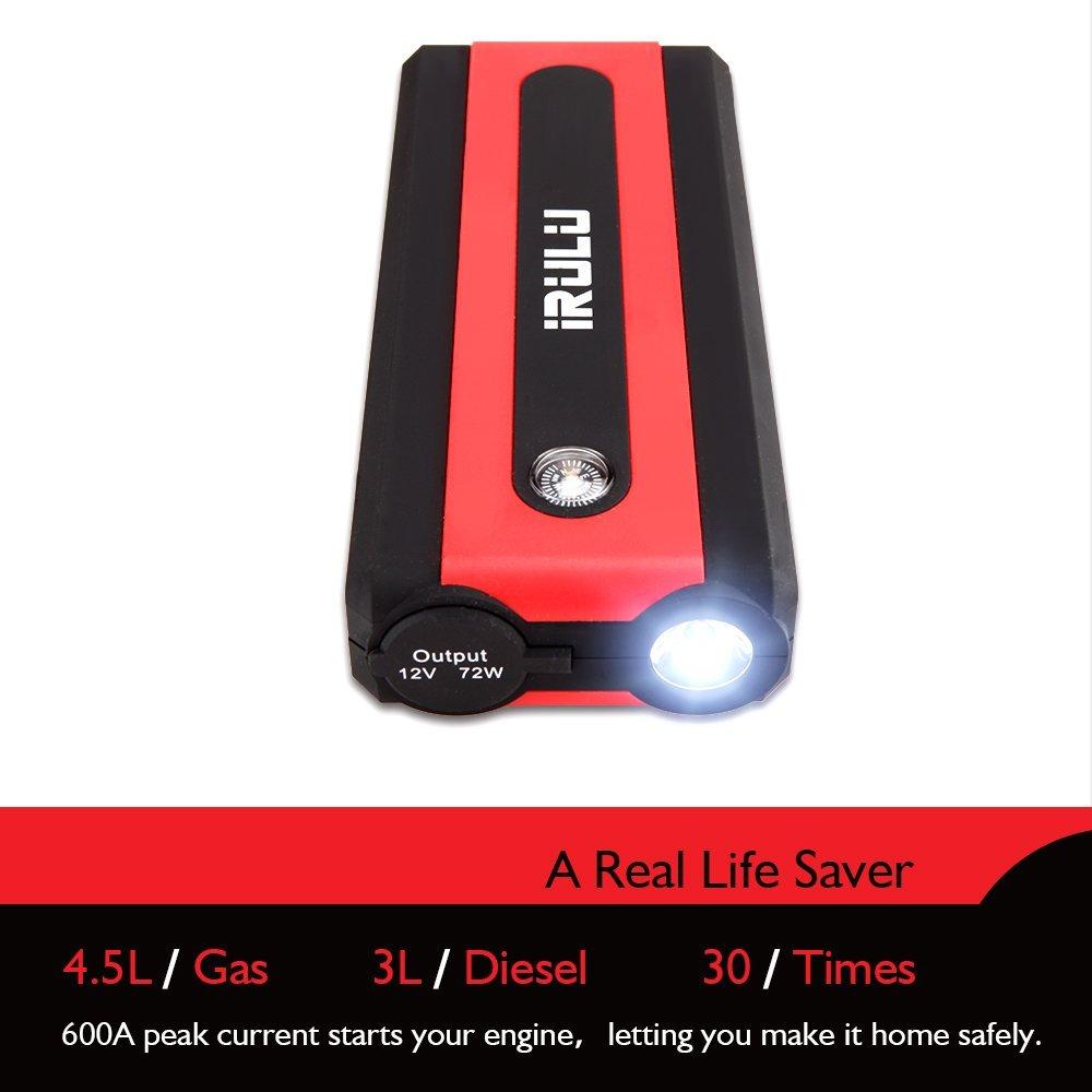 amazon com irulu 600a peak 13600mah car emergency jump starter up rh amazon com
