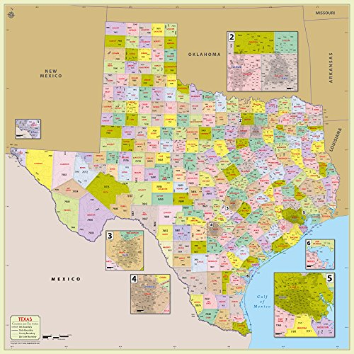 Texas County with Zip Code Map (48