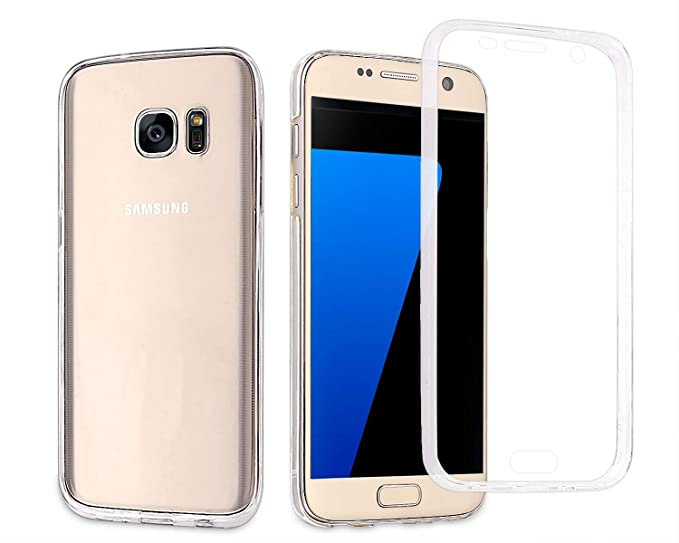hot sale online 6a8aa ddc45 Casetego Compatible Galaxy S7 Edge Case,360 Full Body Two Piece Slim  Crystal Transparent Case with Built-in Screen Protector for Samsung Galaxy  S7 ...