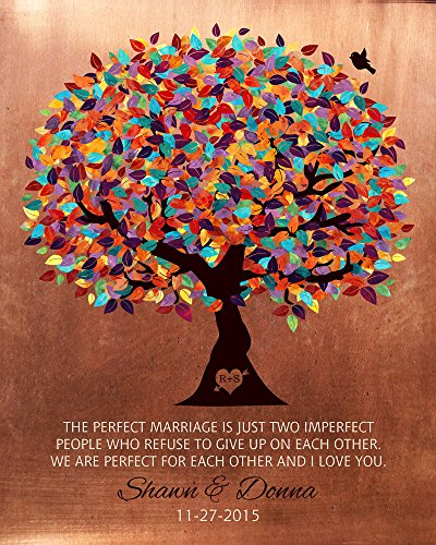 Janet Carmen Personalized 7 Year Metal Print Faux Copper Multi Color Tree Personalized Wedding Poem Metal Sign Tin 30 x 40cm.