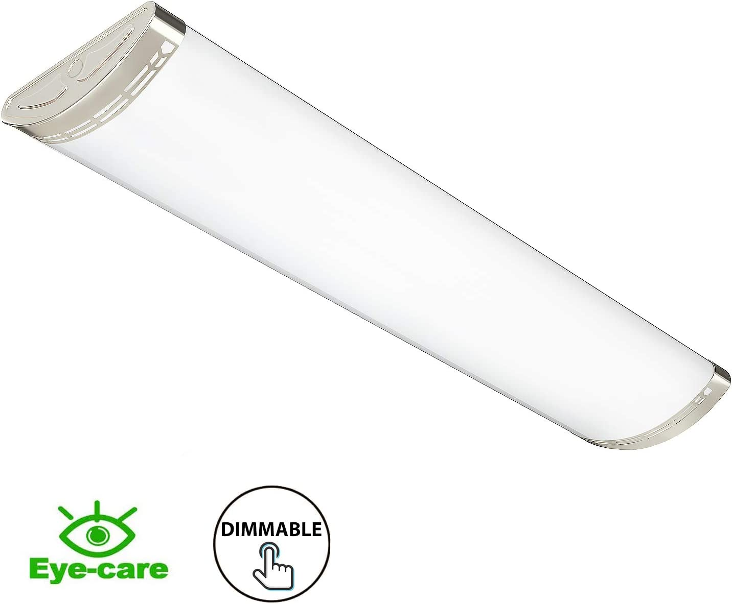 Replace for Fluorescent Version 4000K Warm White FaithSail 4FT LED Light Fixture Dimmable 80W 8800lm Kitchen Lighting Flush Mount 4 Foot LED Light Fixtures Ceiling for Craft Room Laundry