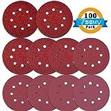 100PCS Sanding Disc Pads, 125mm /5 inch 8-Holes 40/60/80/100/120/180/240/320/400/800 Grit Hook and Loop Sandpaper for Random Orbital Sander For Sale