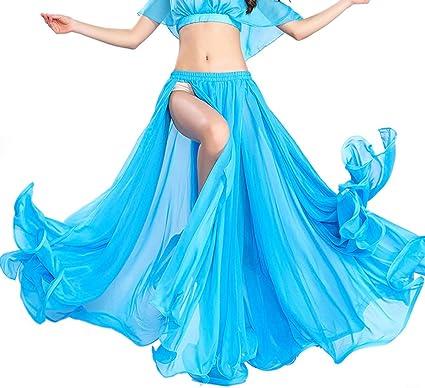 ROYAL SMEELA Costume de Danse du Ventre Tenue de Danse du Ventre Haut et Jupe de Performance Robes en Mousseline de Soie pour Femmes Couleur Unie