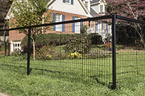 YARDGARD Select - Metal Fencing 152ft Long Steel Fence and Double Gate Kit 4ft high - Black ()