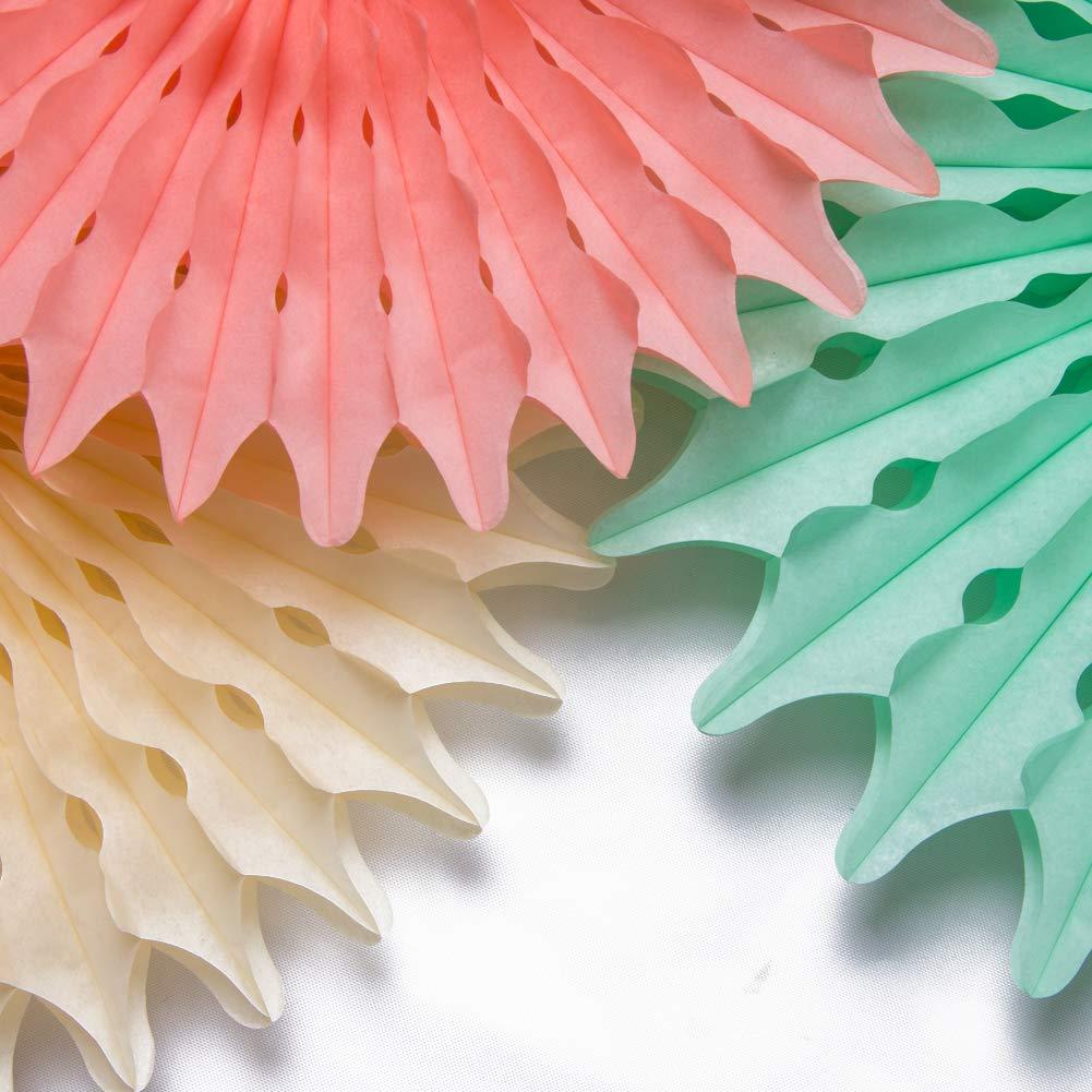 11pcs Easy Joy Rosace Papier Decoration Blanc Noel Lot Rosette Mariage Ceremonie Anniversaire Baby Shower Bapteme Chambre Creche Salle de Classe Deco