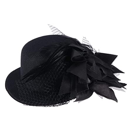 Steampunk Costume Essentials for Women Pixnor Womens Ladies Flower Decor Hair Clip Feather Fascinator Burlesque Punk Mini Top Hat - One Size (Black) $7.29 AT vintagedancer.com