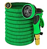 #6: Garden Hose - Expandable 50ft Water Hose with Solid Brass Connectors , Triple Latex Core | 9-Pattern Spray Nozzle + Storage Bag | Strong, Flexible Garden, Lawn, Pet Shower, Plant Watering Hose