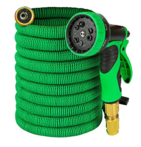 Garden Hose – Expandable 50ft Water Hose with Solid Brass Connectors , Triple Latex Core | 9-Pattern Spray Nozzle + Storage Bag | Strong, Flexible Garden, Lawn, Pet Shower, Plant Watering Hose