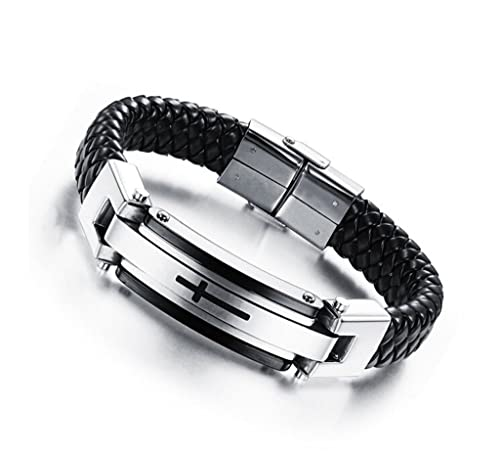 1d0b3d719c6 Feraco Mens Leather Cross Religous Bracelets Vintage Stainless Steel Clasp Cuff  Bangle 8.66 inch