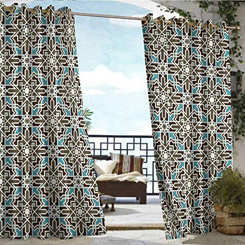 (Qenuan Outdoor Grommet Window Curtain,Brown and Blue,Arabesque Middle Eastern Inspired Moroccan Star Pattern Ornament,Taupe Pale Blue Brown,Outdoor Curtain Set for Patio Waterproof 96