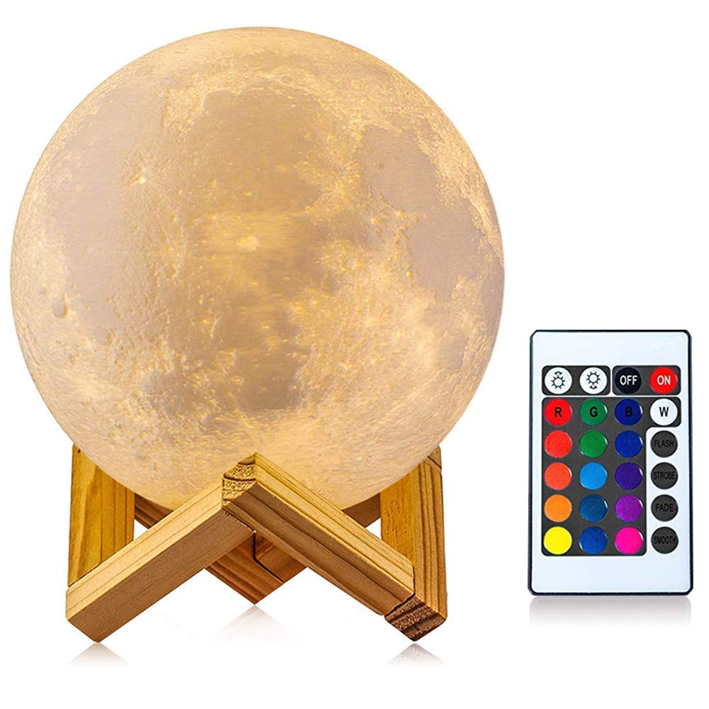 STAR JOINING Moon Lamp 3D - 16 LED Colors - Remote & Touch Control Health Upgrade Dimmable Rechargeable Lunar Night Light(5.1in Full Set with Wooden Stand
