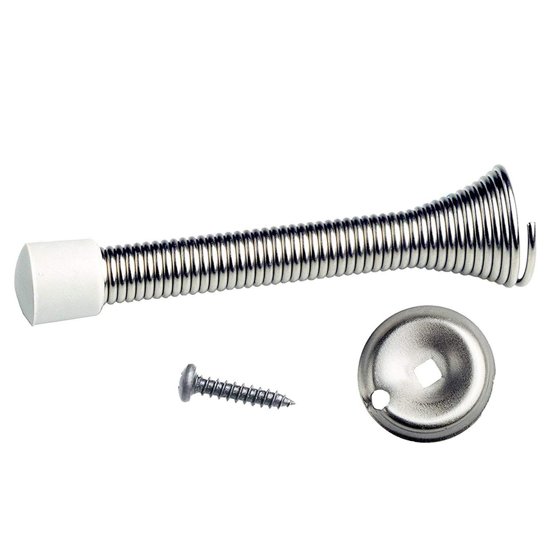 fiXte/® 5 x Chrome Silver Spring Door Stop Stops Stopper Doorstop Inc Fixings /& Screws