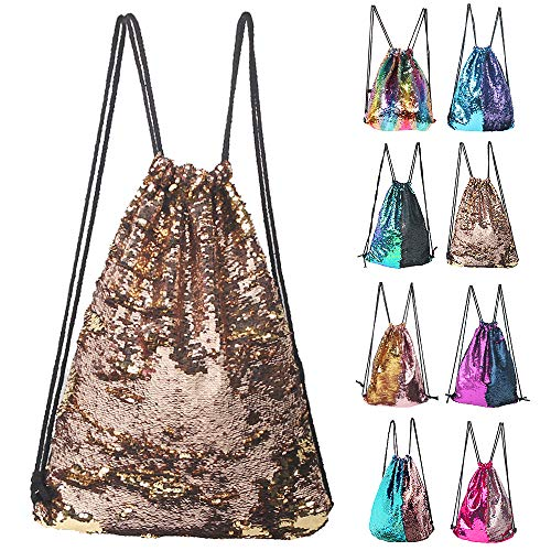 Winmany Mermaid Sequin Backpack Glittering Outdoor Shoulder Bag, Magic Reversible Glitter Drawstring Backpack, Fashion Bling Shining Dance Bag, Sports Backpack Bag