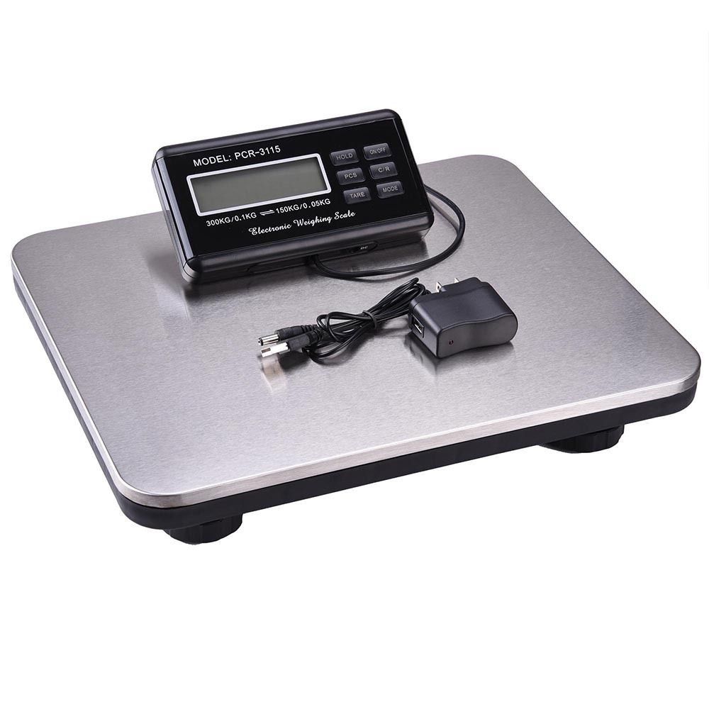 300 Kg 660 Lb Digital Heavy Duty Shipping and Postal Scale with Durable Stainless Steel Large Platform, Powered by Batteries or AC Adapter, Post Office Postal Scale and Luggage Scale