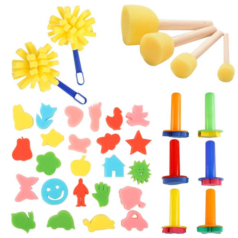 38pcs Kids Painting Set, Affordable Early Learning Drawing Tools Mini Flower Sponge Finger Paint Brushes Washable Craft Art Supplies Paint Kits for Kids Toddlers by Affordable