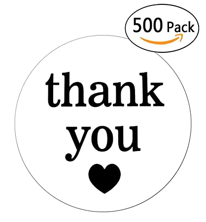 Wootile 2 white semi gloss thank you stickers with black print 500 round adhesive labels