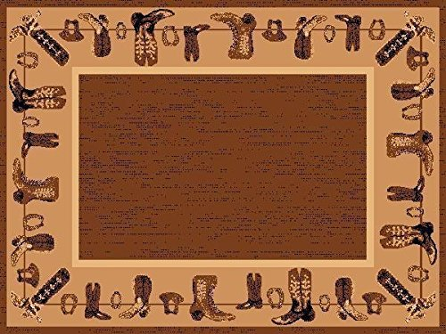 3' X 8 Country Theme Lodge Runner Rug Clothesline Boots Brown Tan Cabin Rug