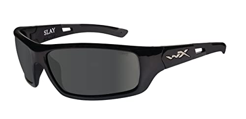 Wiley X Slay Sunglasses, Polarized Smoke Grey, Gloss Black