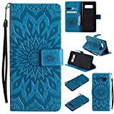 Galaxy Note 8 Case Cover,SMYTU Premium Emboss Sunflower Flip Wallet Shell PU Leather Magnetic Cover Skin with Wrist Strap Case for Samsung Galaxy Note 8(Blue)