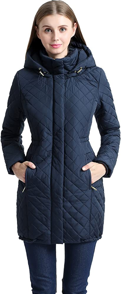 af5fcd8ff87d1e BGSD Women's Angela Waterproof Quilted Parka Coat - S Navy. Back.  Double-tap to zoom