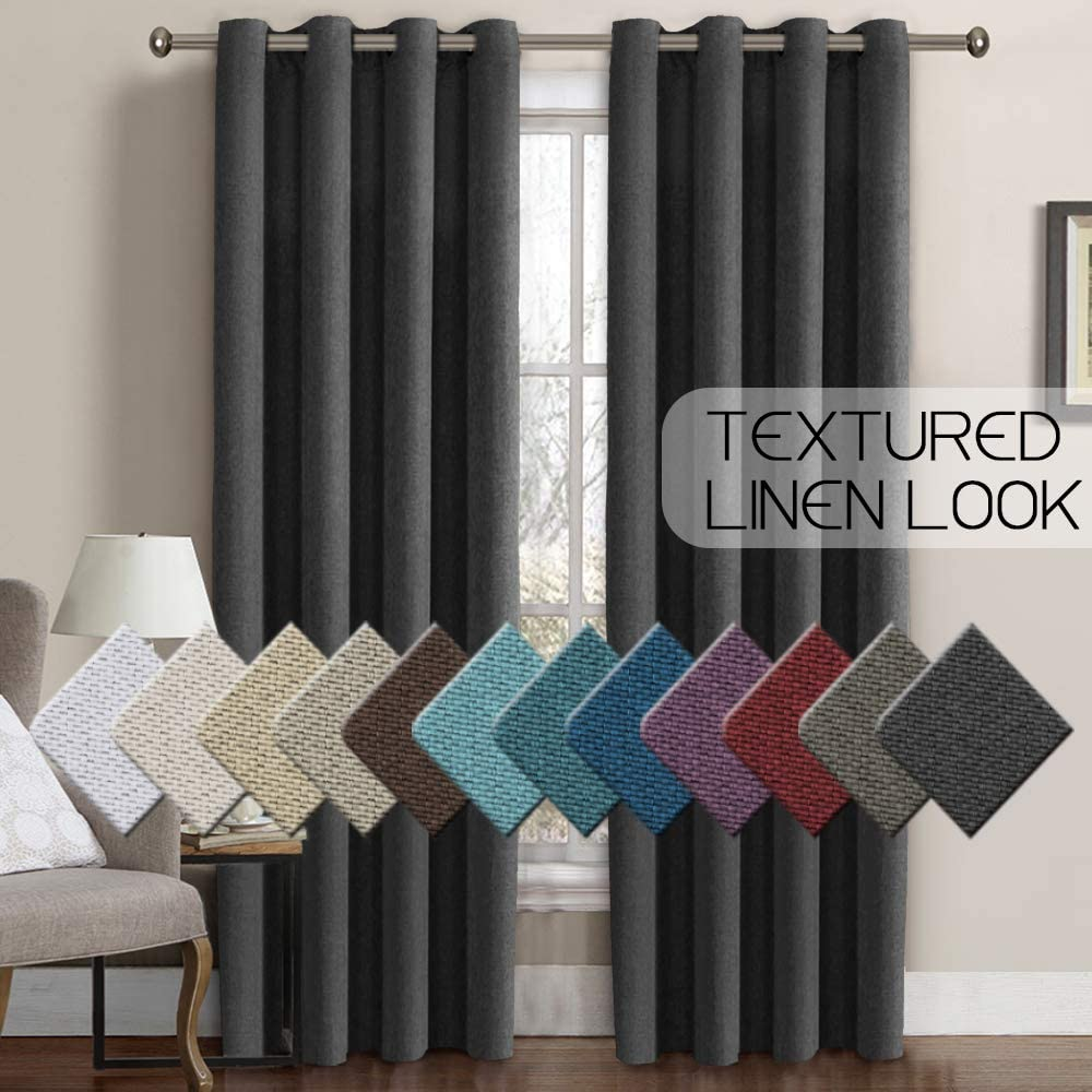 Linen Curtains Blackout 84 Inches Long Thermal Insulated Energy Saving Textured Linen Curtain Panels for Bedroom Grommet Window Treatment Curtain Drapes for Living Room - Charcoal Gray (1 Panel)