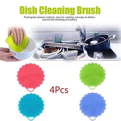 hkfv Superb útil diseño de limpieza herramienta de silicona antibacteriana de limpieza de esponja estropajo de ...