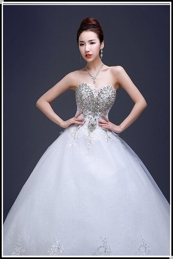 DIDIDD Vestido de Novia Modelos de Invierno Diamante Sastre Qi Qi Pecho Boda Boda Nupcial Era Delgada Mujeres Embarazadas,Blanco,L: Amazon.es: Hogar