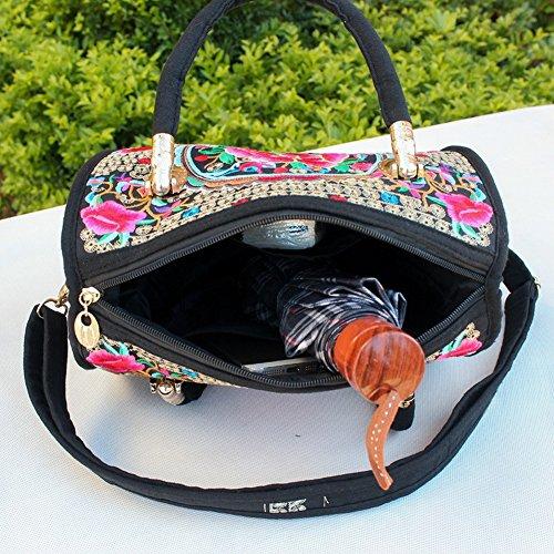 due nbsp; obliquo ricamo e mano Cotone borse della pacchetto Leisure tela lino q4x4wP